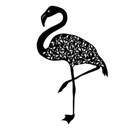 Vector stock illustration of a pink Flamingo. monochrome pattern of exotic graceful flamingos. Paradise tropical feathered bird. Isolated silhouette on a white background for printing on postcards ts