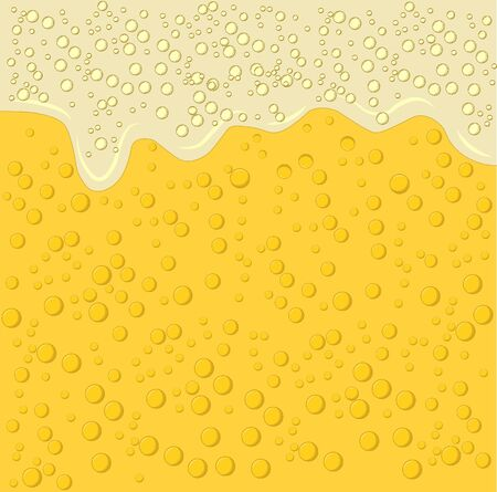 Beer foam and bubbles background. Vector poster template of seamless realistic craft beer with flowing foam and bubbles. Hops and malt. Light alcoholic beverage for relaxation.  イラスト・ベクター素材