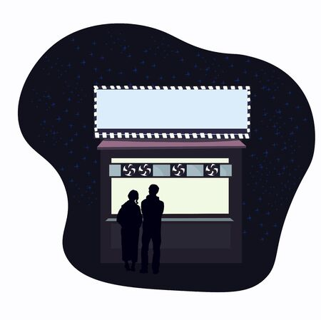 Vector stock illustration of night coffee. Couples in love on a date. Meeting friends on the street. Fast food in a retail store. Street fast food. Late evening dinner. Asian urban cuisine. Concept.  イラスト・ベクター素材