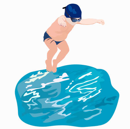 Boy in the pool. Cap and glasses for swimming. Swimmer. Vector stock illustration of a pool jump. Fun vacation in the water. Bathing a child. Active, healthy lifestyle. Recreation childhood, summer  イラスト・ベクター素材