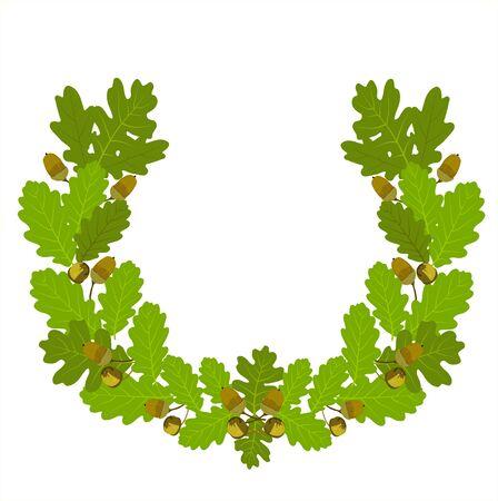 Vector stock illustration of oak leaf crown. Wreaths depicting an award, achievement, heraldry, nobility, emblem. Green oak leaves and acorns. Oak crown. California red oak branch. Hazelnut close-up.