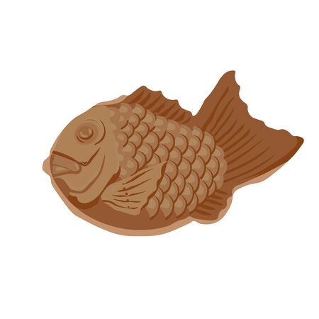 Vector stock illustration of japanese taiyaki. Korean dessert fish pie with fillings. Asian dessert.Cartoon hand drawn Japanese or Korean street food and snack, Asian food icon. Great for menu design.