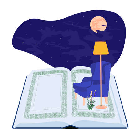 Vector stock illustration of home comfort. Reading a book at night in a blue armchair. Sticker for an online store. Children's story. Home library. Night sky. Isolated on a white background.