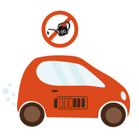 Vector stock illustration of an electric car. Sticker template for Norway prohibiting petrol cars. Environmental poster for alternative energy. Isolated on a white background. Diesel fuel