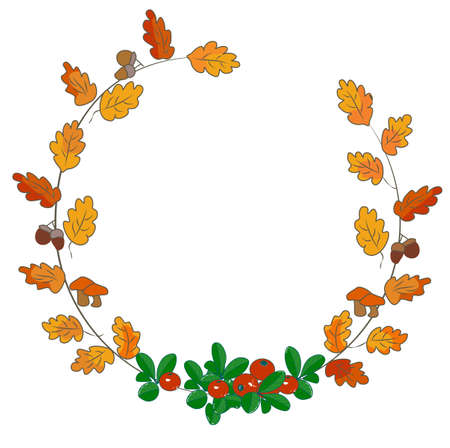 Vector stock illustration of an autumn wreath with falling oak leaves, nuts, acorns, wild berries, cranberries, mushrooms. The round frame is made of hand-drawn Botanical elements. Isolated on a white