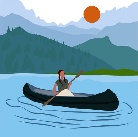 Vector stock illustration of a journey on the kunai. Tourist postcard of active recreation girls on kayaks. A man on the lake is engaged in rowing with oars. Mountain landscape. The trip on the boat.  イラスト・ベクター素材