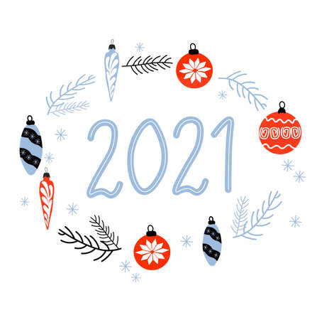 Vector stock illustrationHappy New Year 2021 greeting card. Vector illustration concept for background, greeting card, website and mobile website banner, party invitation card, social media banner