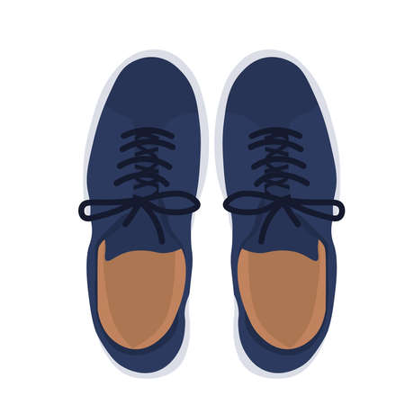 Men's shoes vector stock illustration. A pair of sneakers poster for a teenager. A pair of blue leather shoes. Suede loafers. Isolated on a white background. Vetores