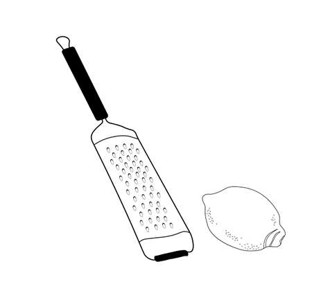 Cheese grater vector stock illustration. A kitchen tool. Rub the lemon zest. Isolated on a white background.