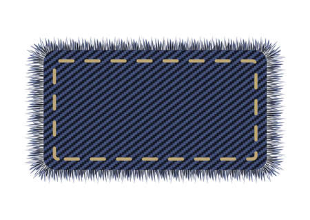 Denim square with stitch on a jeans canvas. Sale label element in vector. Destroyed and tor patchwork shape in dark blue.
