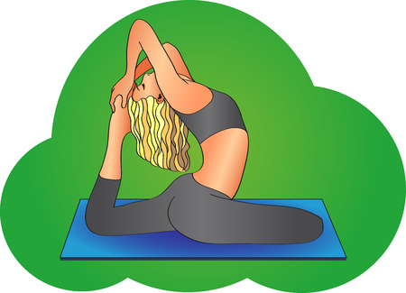 mat: girl sitting in the posture of hatha yoga on a blue mat
