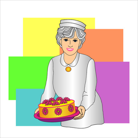 confectioner: Confectioner woman with a cake in hand  on a colored background Illustration