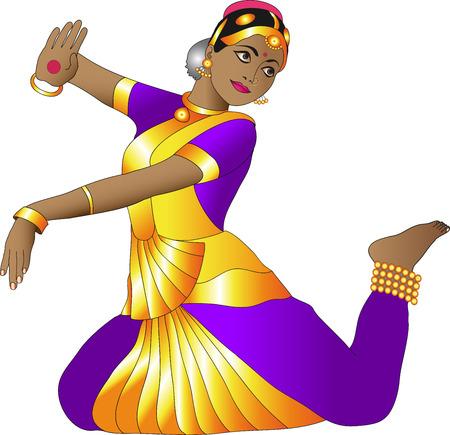 sari: Indian dancer on a white background