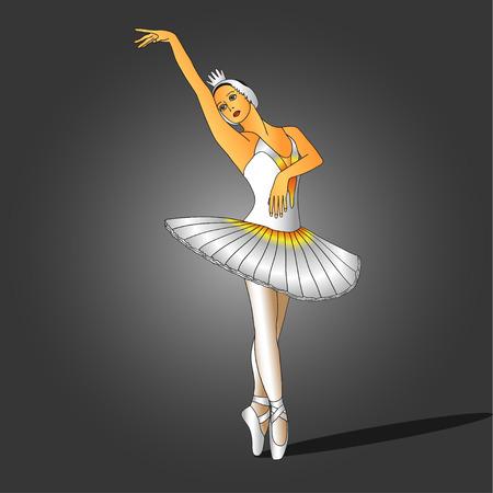 beauty pageant: ballerina in white dress standing on pointe in a graceful pose
