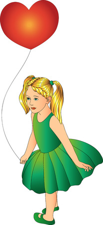 one person only: Girl with a balloon in a green dress on a white background