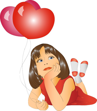 teenagers only: girl with balloons in a red dress on a white background