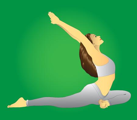hatha: girl sitting in the posture of hatha yoga, green background