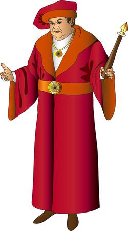 hombres maduros: Burgomaestre con t�nicas de color burdeos con un bast�n en la mano izquierda sobre un fondo blanco Vectores