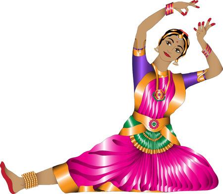 bailarinas: chica en una danza india pose graciosa sobre un fondo blanco