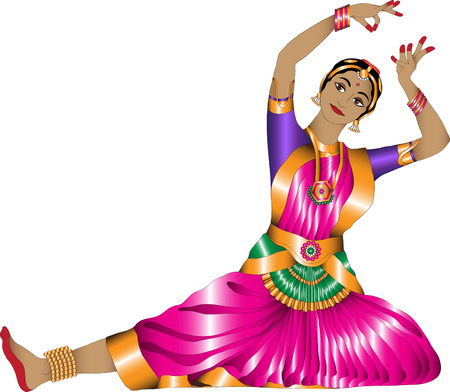 sari: girl in a graceful pose Indian dance on a white background