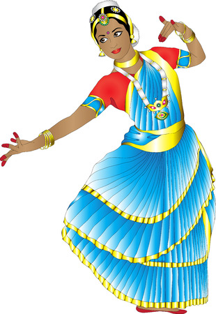 girl in a graceful pose Indian dance on a white background