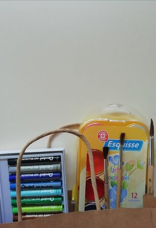 Different chancery on thr desk with eco bag