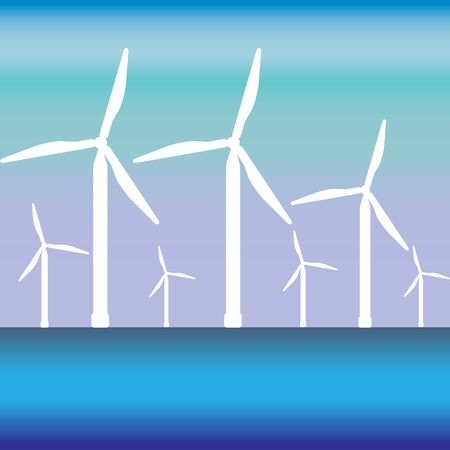Wind energy .Windsmill in the water and the space for the text. Çizim
