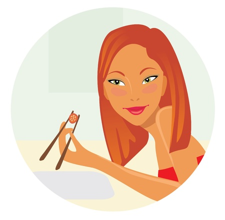 girl with sushi Vector