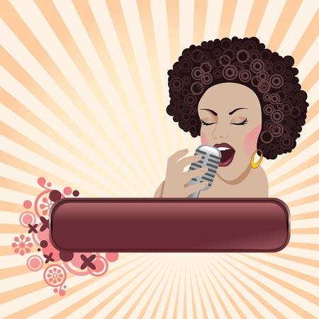 The beautiful woman sings in a microphone Vector