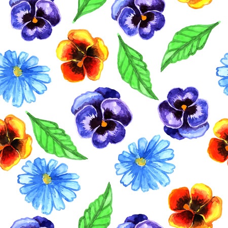 Watercolor seamless pattern of flowers Vector
