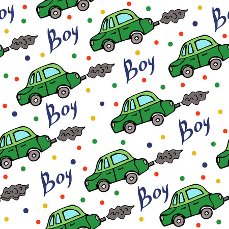 Seamless pattern of baby car Vector