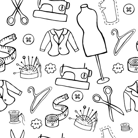 couturier: drawn by hand fashion pattern Illustration