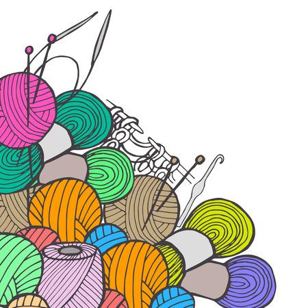 drawn by hand knitting Illustration