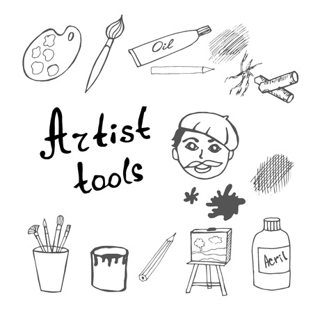tempera: Set of artist tools Illustration