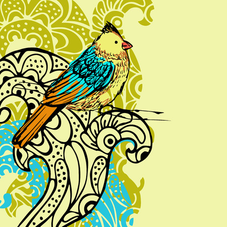 floral background with flowers and bird Vector