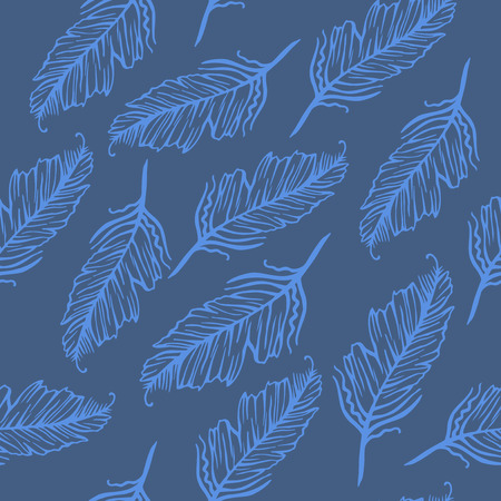 lightweight ornaments: Seamless pattern of feathers Illustration