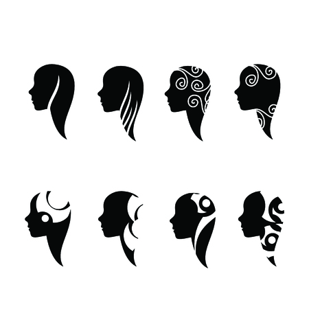 template for icon beautiful girl Vector