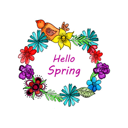 spring custody watercolor background Vector