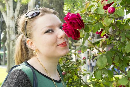 rose bush: young woman near a rose Bush Stock Photo