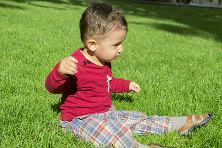 2 years: boy 2 years playing on the grass