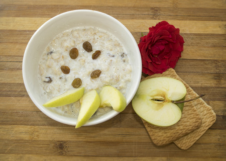 childrens food: healthy Breakfast of oatmeal and fruit