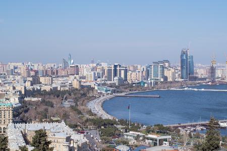 caspian: the Caspian coast city of Baku, view from above