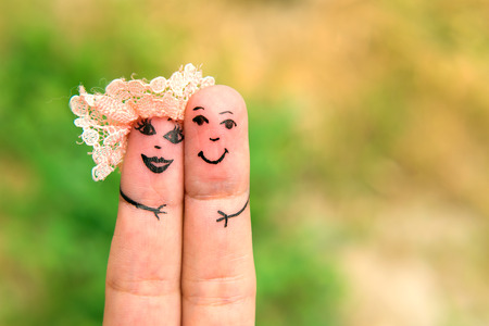 paramour: Funny men painted on the fingers. Friends. Family. Relationship Stock Photo