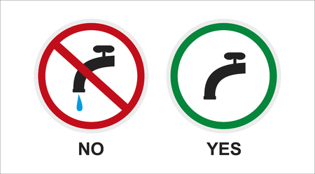 run off: sign, icon about saving water. keep the faucet closed
