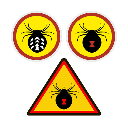 spidery: warning sign. danger. deadly spiders. be careful.