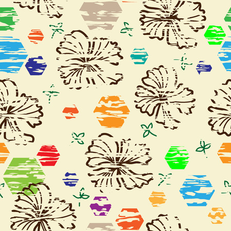 repeating background: repeating background of abstract flowers. ornament for textiles