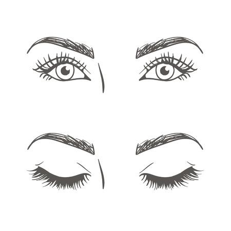 ojos abiertos y cerrados. ilustración vectorial blanco y negro
