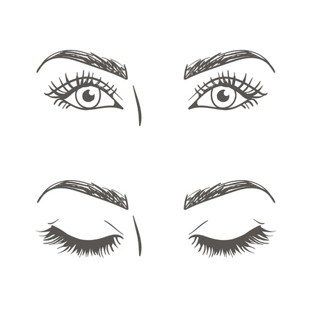 closed eyes: open and closed eyes. monochrome vector illustration Illustration