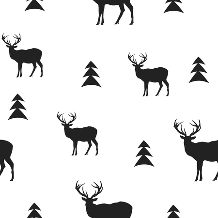 Monochrom-Vektor-Hintergrund. Muster mit Rehen. Winter-Hintergrund