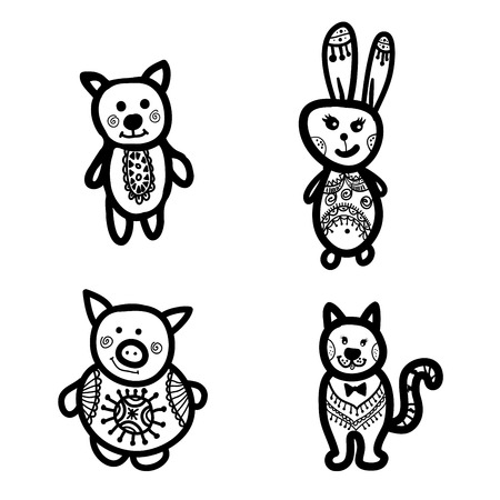 pig with wings: contour image Pets. Dog, cat, pig, rabbit. Illustration